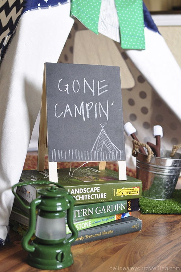 Camping themed bday party tent