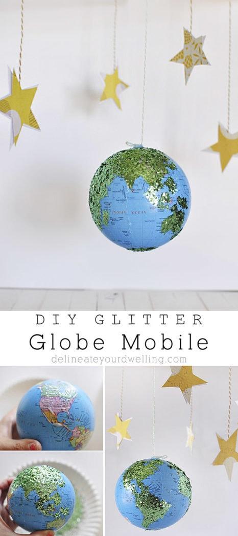 DIY Glitter Globe Mobile, Delineateyourdwelling.com