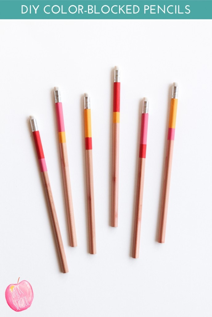 color-blocked-pencils, Back to School DIYs
