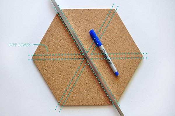 Creative Asterisk Cork Board cut lines