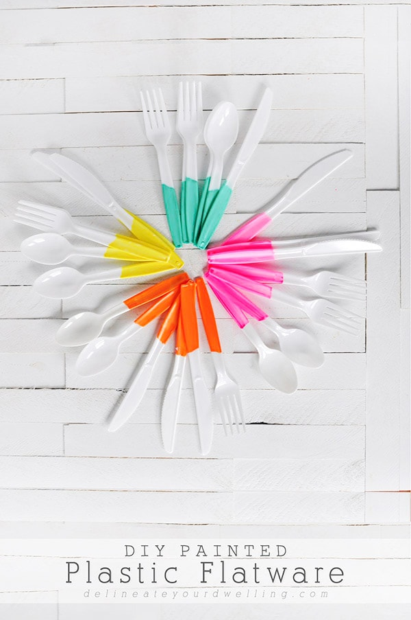 Super Easy Painted Plastic Flatware | Delineate Your Dwelling