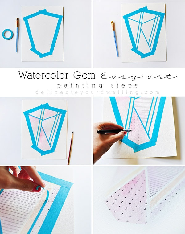 Watercolor Gem Easy Art steps