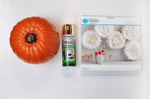 DIY Pom Pom Flower Pumpkin supplies