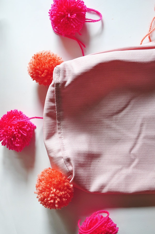 DIY Pom Pom Pillow sewing