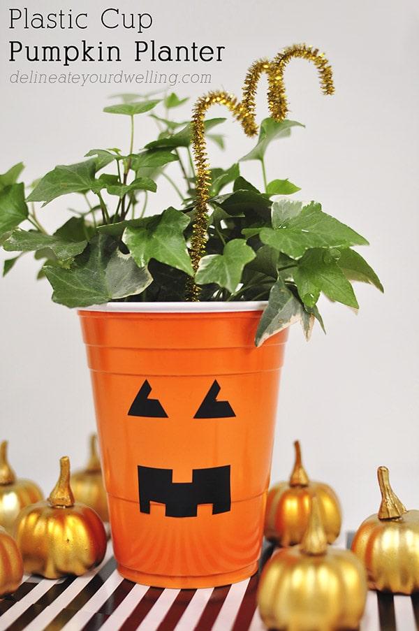 Plastic Cup Pumpkin Planter, Delineateyourdwelling.com