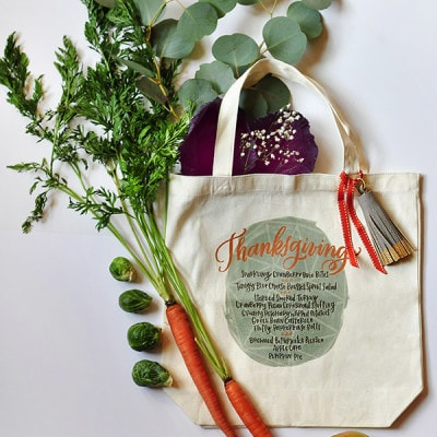 Thanksgiving Menu Iron On Tote, Delineateyourdwelling.com