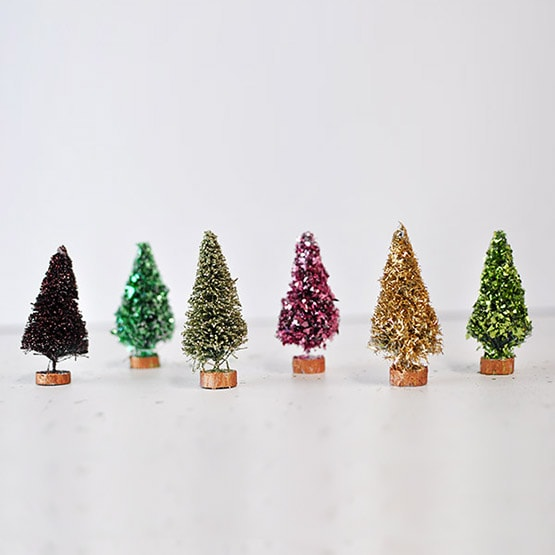 2 Glitter Bottle Brush Trees
