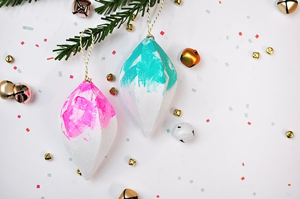 Colorfully Painted Christmas Ornament pink blue
