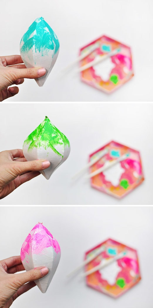 Colorfully Painted Christmas Ornament steps