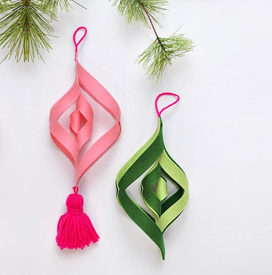 1 DIY Felt Ornament Pink Green