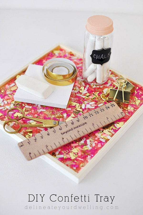 DIY Confetti Tray - Colorful Christmas, Delineateyourdwelling.com