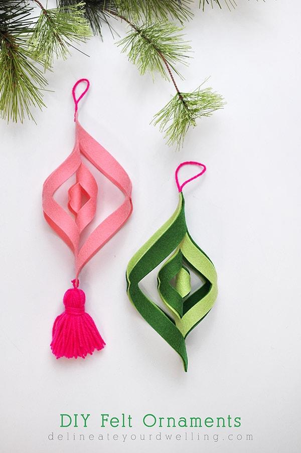 DIY Felt Ornament Pink Green, Delineateyourdwelling.com