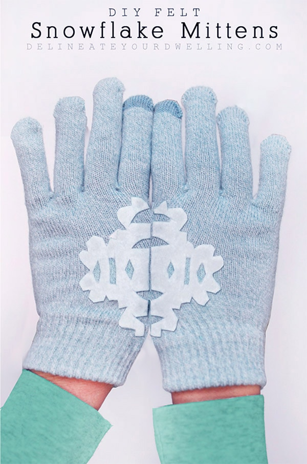 DIY-Felt Snowflake Mittens - Colorful Christmas, Delineateyourdwelling.com