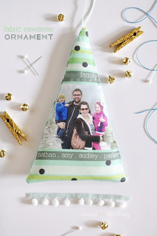 Fabric Newsletter Ornament - Colorful Christmas, Delineateyourdwelling.com