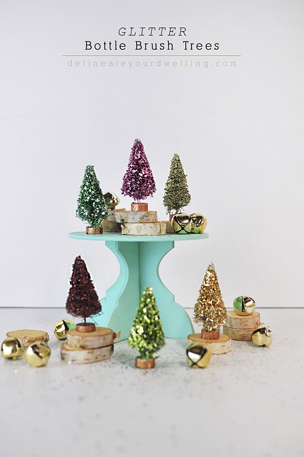 Glitter Bottle Brush Trees - Colorful Christmas, Delineateyourdwelling.com