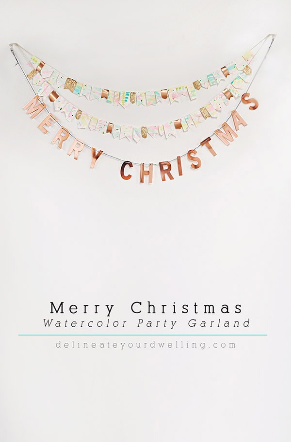 Merry Christmas Watercolor Garland - Colorful Christmas, Delineateyourdwelling.com