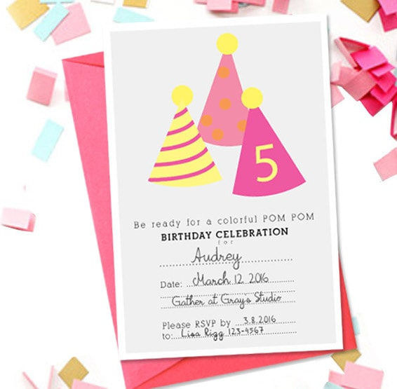 1 PomPom-Birthday-Party-Invitation