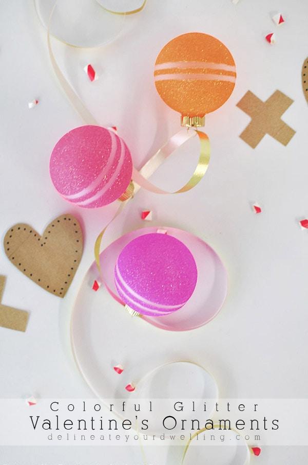 Colorful Glitter Valentine's Ornaments, Delineateyourdwelling.com