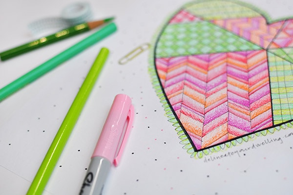 Geometric Heart Coloring Page, Delineateyourdwelling.com