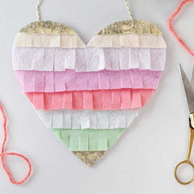 1 Fringed Felt Heart