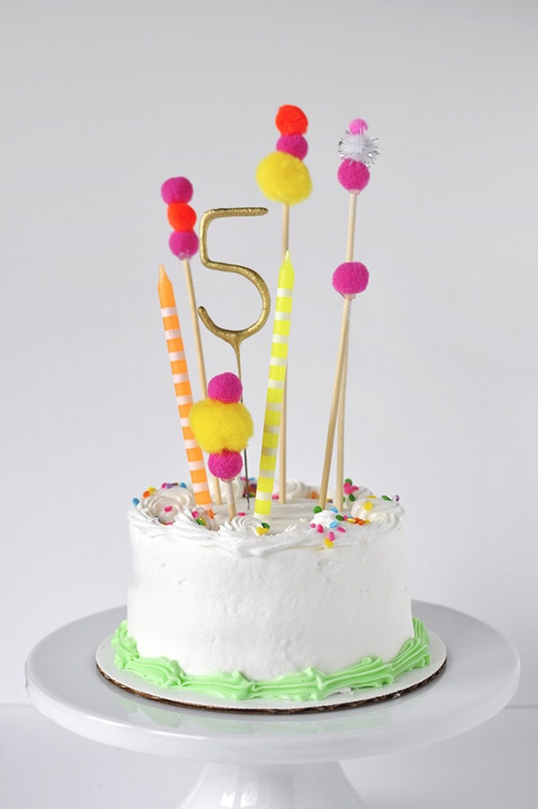 Cake Toppers For Birthday : Pom Pom Birthday Cake Topper - Delineate Your Dwelling