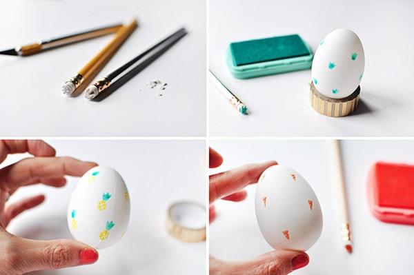 Fruit Stamped Easter Egg steps