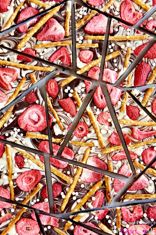 Strawberry-Pretzel-Chocolate-Swirl-Bark-Semisweet-White-Chocolate, Chocolate Bark Recipe