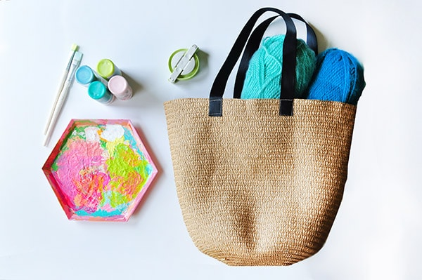 Painted Circle Summer Tote supplies
