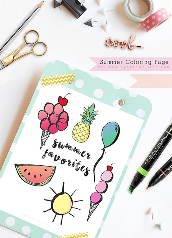 Coloring Page Summer Favorites, Delineate Your Dwelling