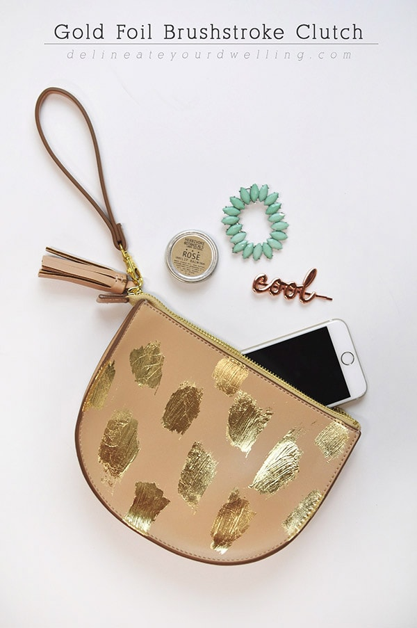 Gold Leaf Brushstroke Clutch