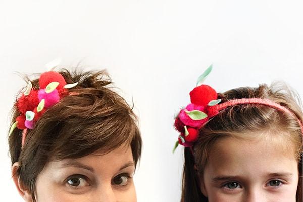Apple Pom Pom Headband mom and daughter