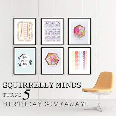 Happy 5th Birthday to Squirrelly Minds + a Giveaway