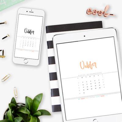 October 2016 Digital Hand lettered Calendar