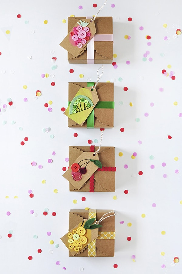 DIY Fruit Gift Tags made from simple craft buttons! Delineate Your Dwelling