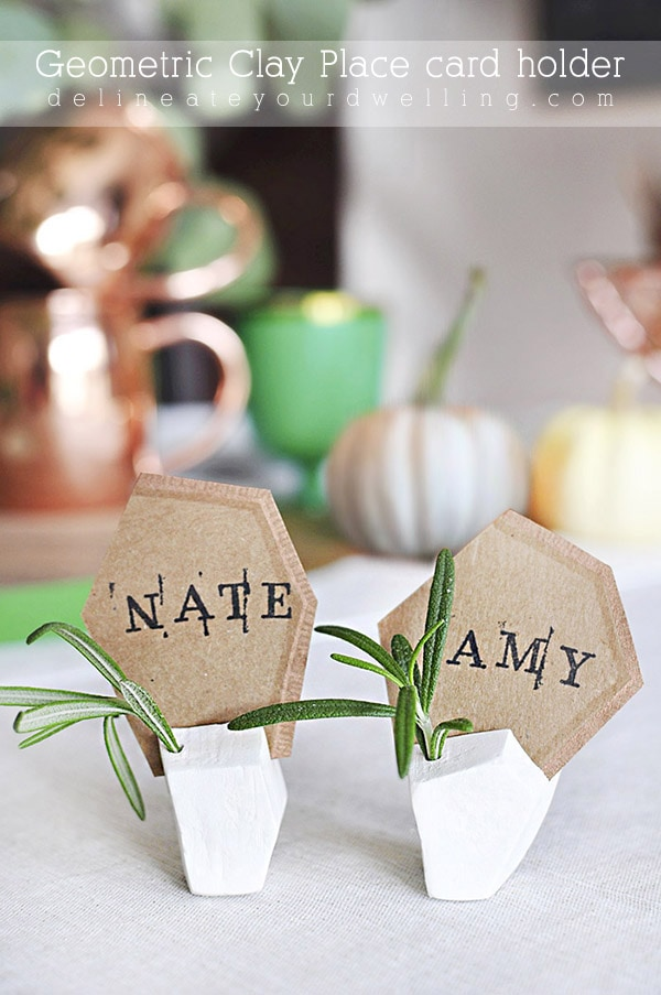 DIY Geometric Clay Placecard Holder, Delineate Your Dwelling