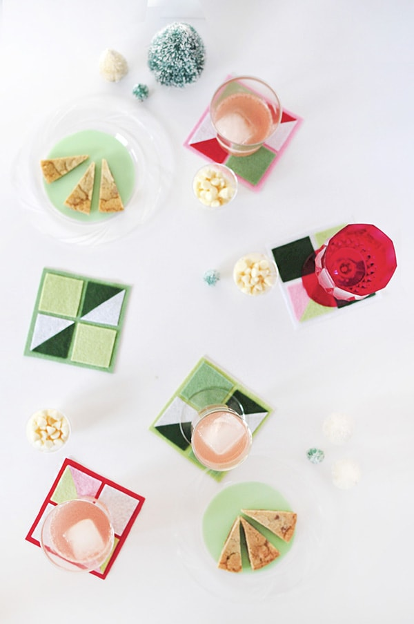 Easy to make DIY Felt Geometric Party Coasters, Delineate Your Dwelling