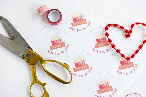 Pink Popcorn Vday tags
