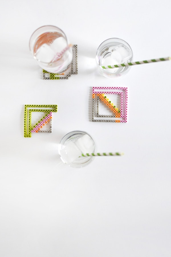 Colorful Perler Bead Coasters