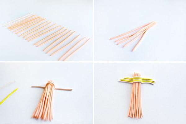 DIY Clay Tassel Keychain steps