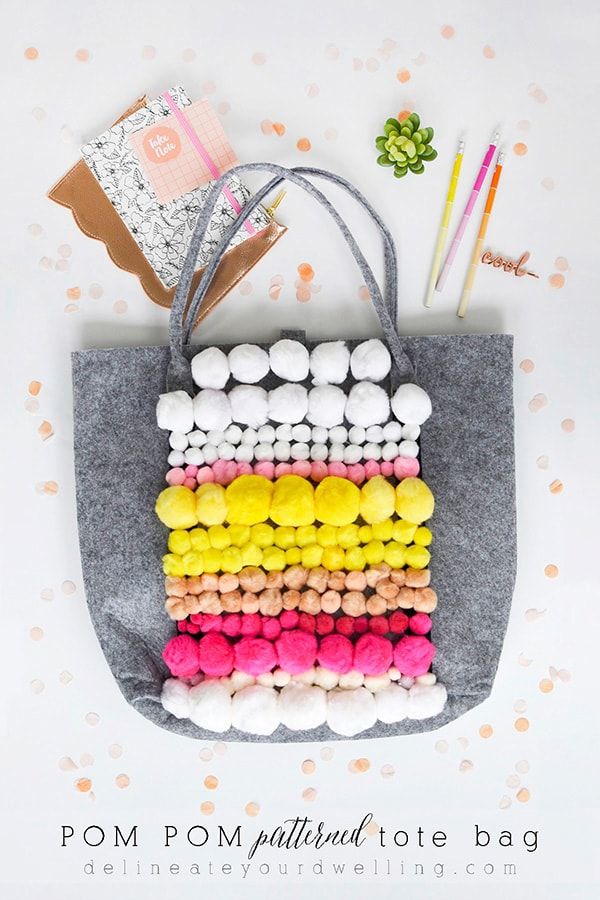 Fun to create - DIY Pom Pom Patterned Tote bag, Delineate your Dwelling