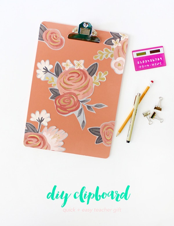 diy-clipboard-back-to-school-easy-gifts-for-teachers coral, peach and orange