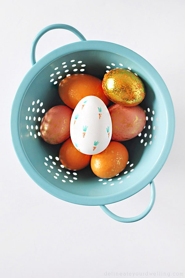Coral, Peach and Orange Carrot-Stamped-Easter-Eggs
