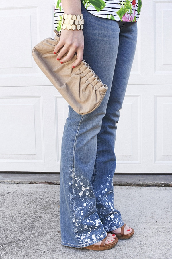How to create trendy DIY White Paint Splatter Jeans, Delineate Your Dwelling