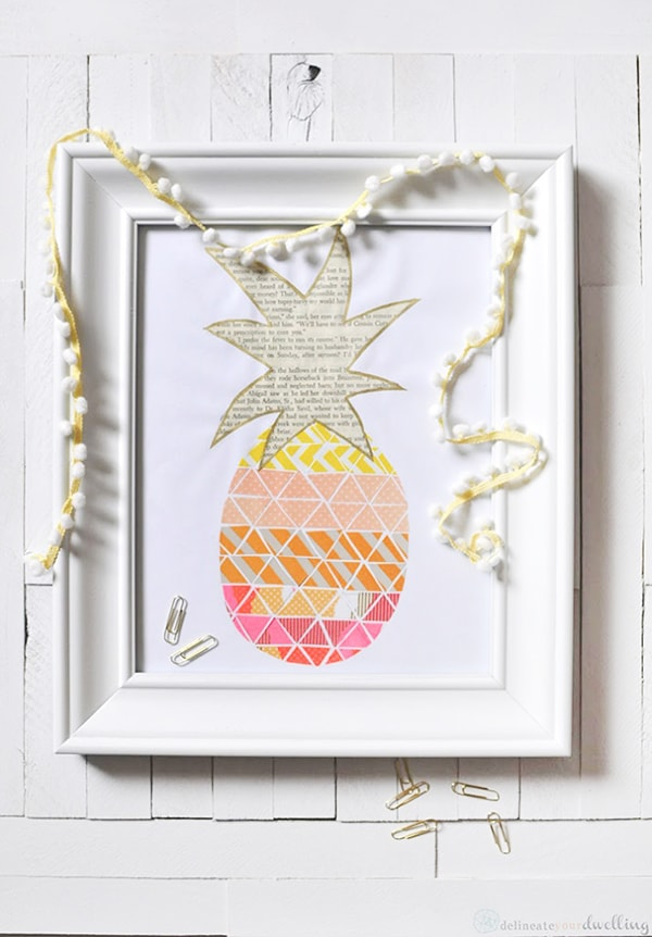 Pineapple-Print coral, peach and orange