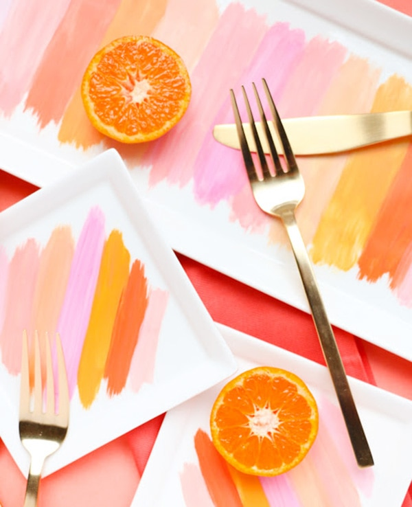 brushstroke plates coral, peach and orange