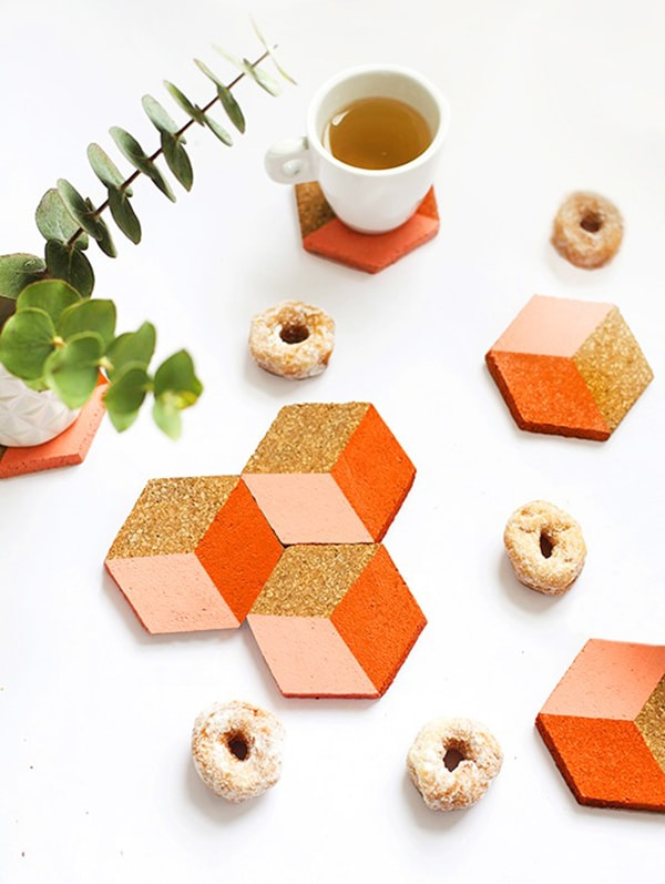 geometric-coaster coral, peach and orange