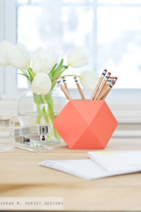 geometric-office-accessories coral, peach and orange