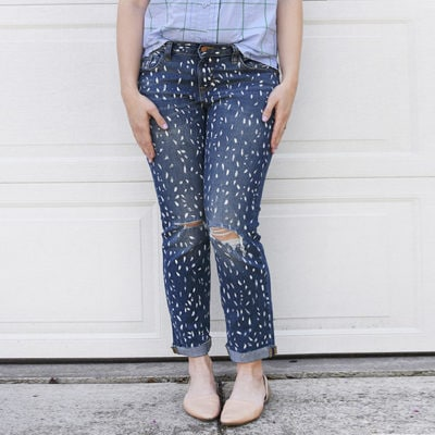 1 DIY White Painted Patterned Jeans
