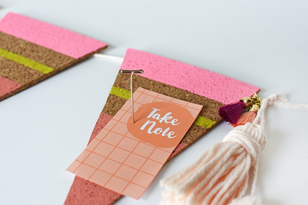 DIY Cork Pennant detail