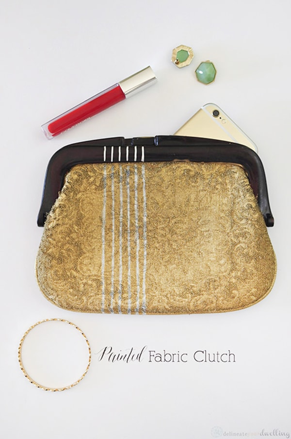 Gold Painted-Fabric-Clutch